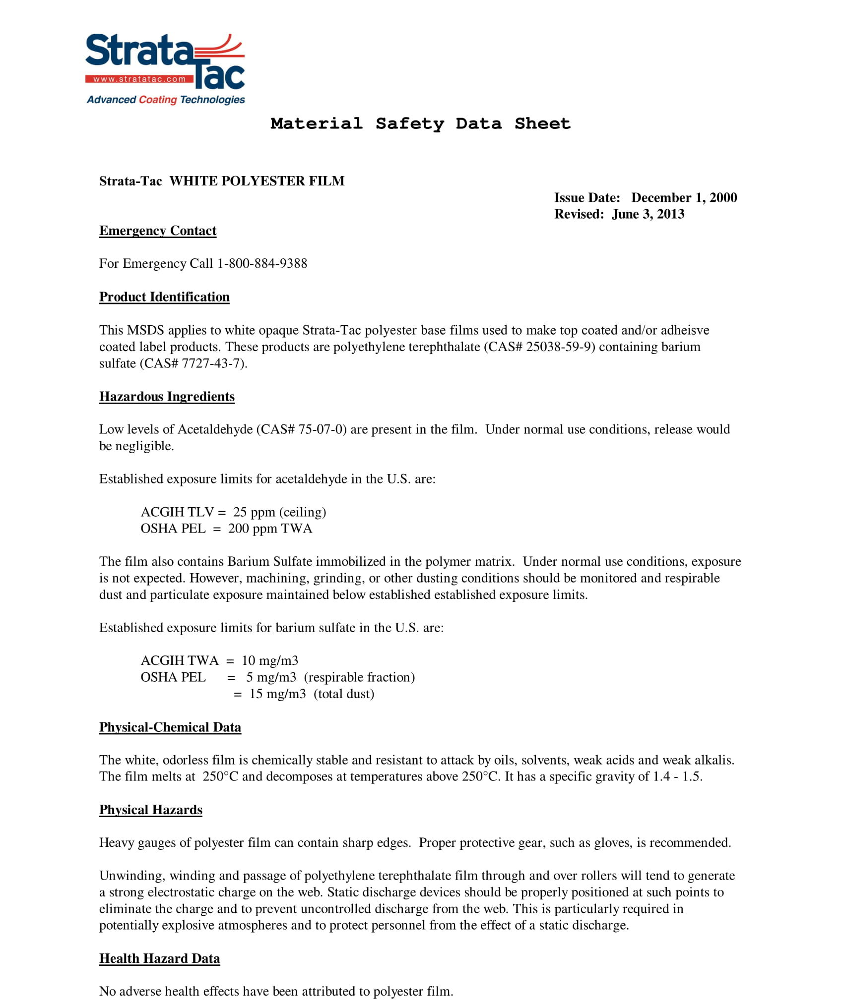 Strata-Tac PETW MSDS Sheets Cover